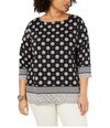 Charter Club Womens Plus Knit Printed Pullover Top