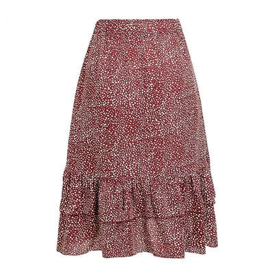 Asymmetrical Boho Skirt Ruffled