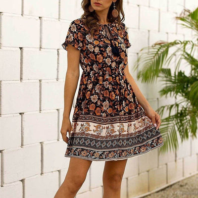Black Boho Dress Short
