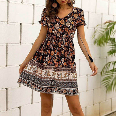 Black Boho Dress Short - S