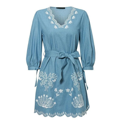 Blue Boho Mini Dress