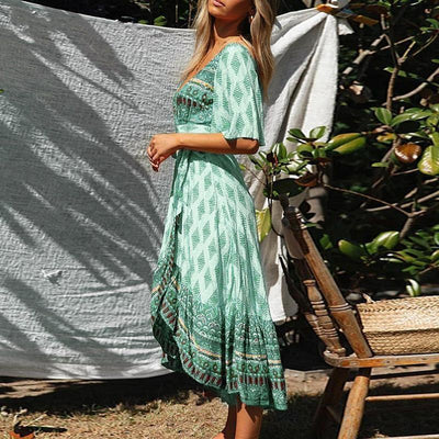 Boho Asymmetrical Dress - Green / S