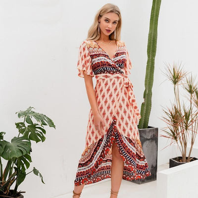 Boho Asymmetrical Dress - Orange / S