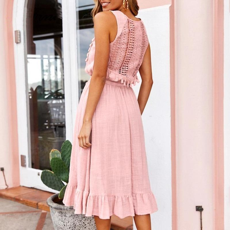 Boho Chic Pom pom Dress - Pink / S