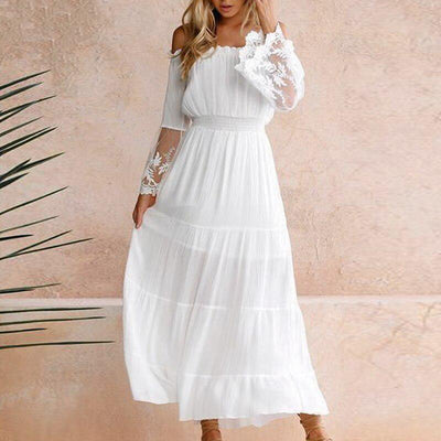 Boho Chic White Maxi Dress - S