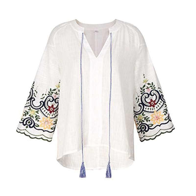 Boho Embroidered Tunic Top