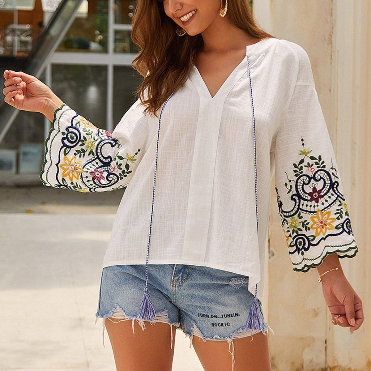 Boho Embroidered Tunic Top - S