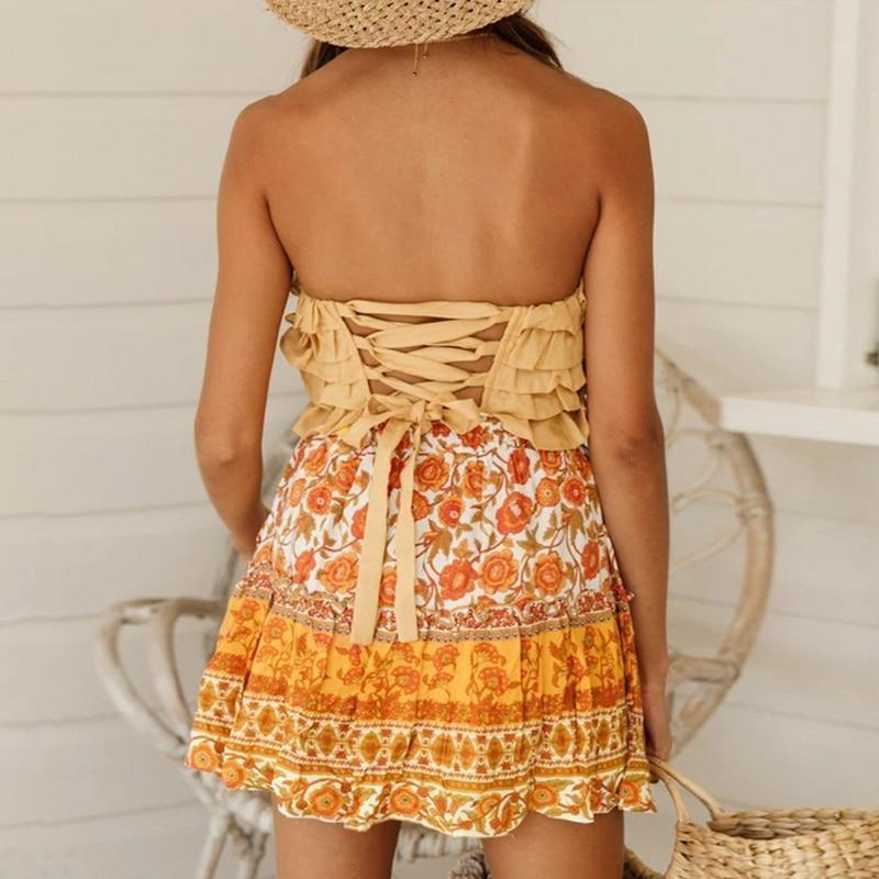 Boho Gypsy Mini Skirt - S