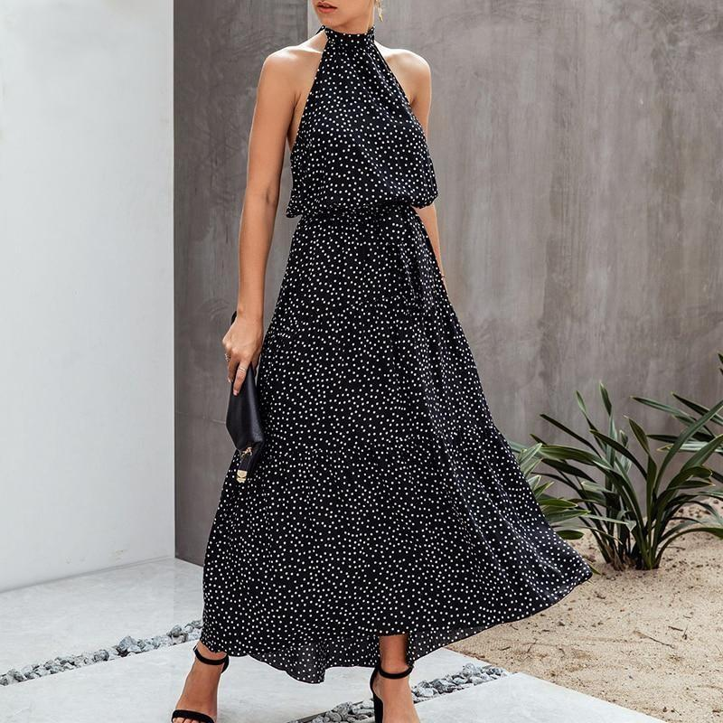 Boho Halter Maxi Dress - Black / S
