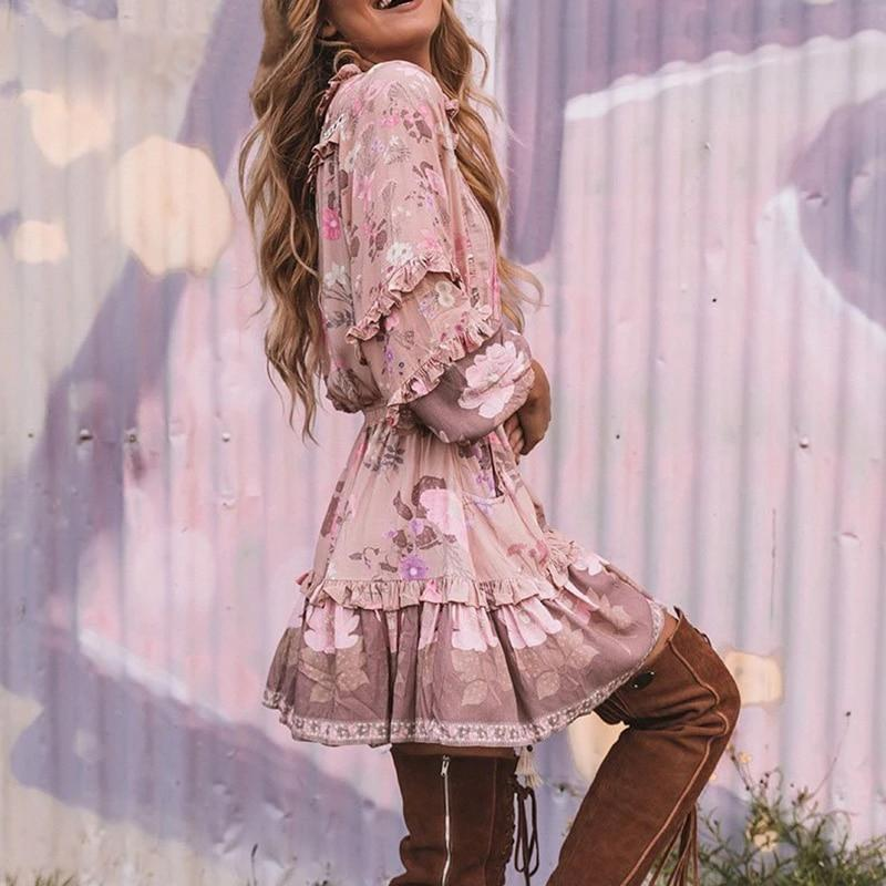 Boho Hippie Mini Dress - Pink / S