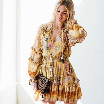 Boho Hippie Mini Dress - Yellow / S