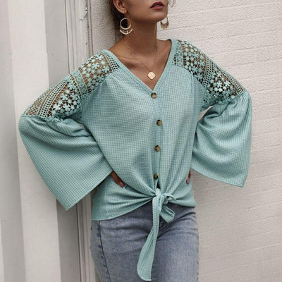 Boho Lace Shirt - Light Blue / S