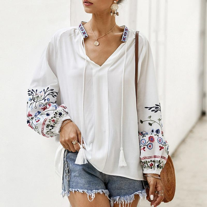 Boho Long Sleeve Tunic Top - S