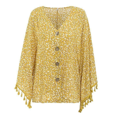 Boho Loose Blouse Floral Pattern