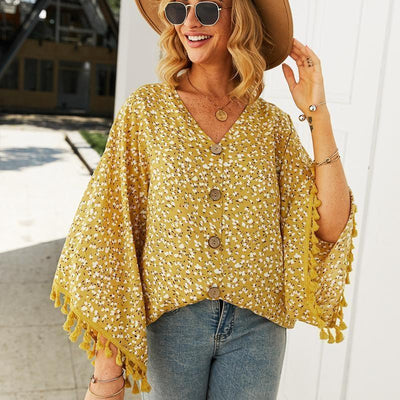 Boho Loose Blouse Floral Pattern - Yellow / S