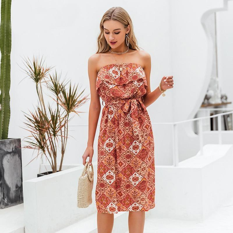 Boho Midi Dress Sleeveless - S