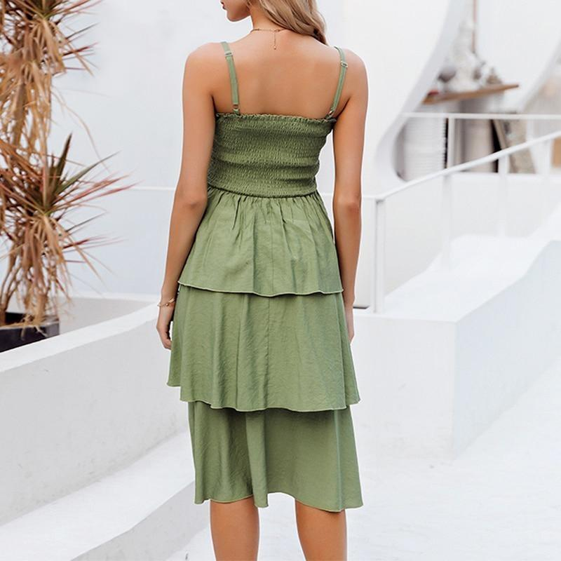 Boho Ruffle Dress - Green / S