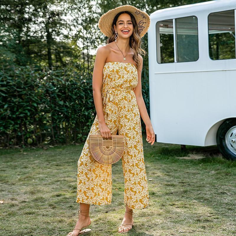 Boho Strapless Jumpsuit - S / Yellow