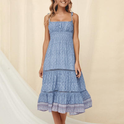 Boho Summer Midi Dress - Blue / S