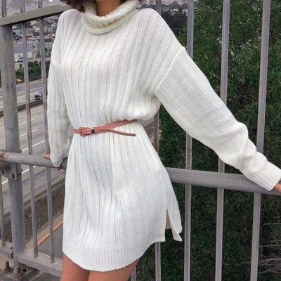 Boho Sweater Dress - White / S