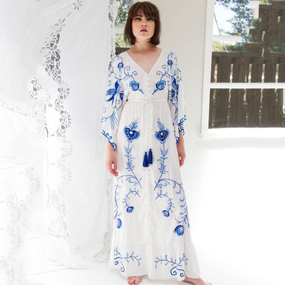 Embroidered Bohemian Maxi Dress