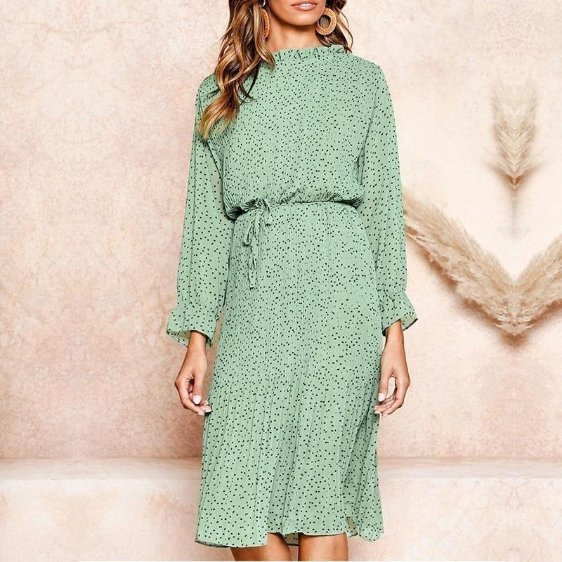 Long Sleeve Boho Dress - S