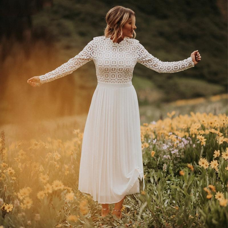 Long Sleeve Boho Maxi Dress White - S