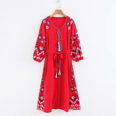 Red Boho Dress - Unique