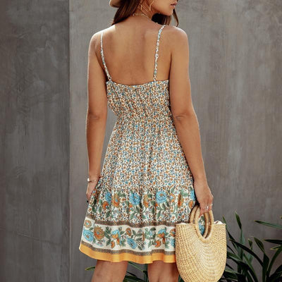 Short Spaghetti Strap Boho Dress