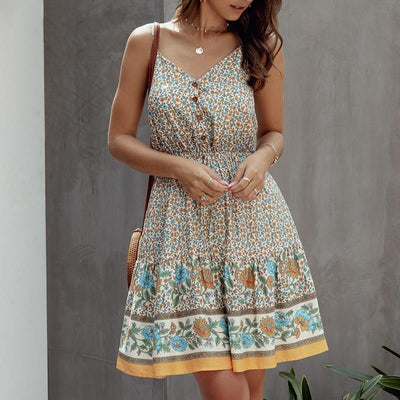Short Spaghetti Strap Boho Dress - Beige / S