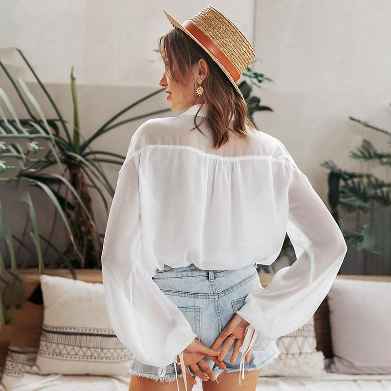 White Boho Blouse - S