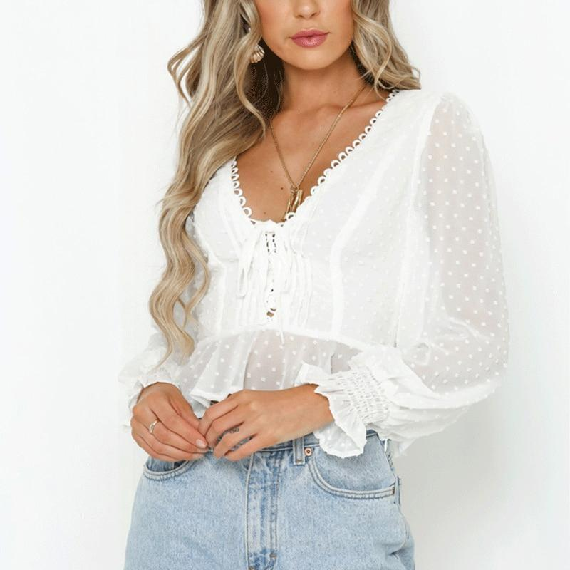 White Boho Blouse Long Sleeve