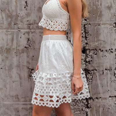 White Boho Mini Skirt