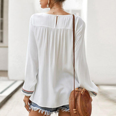 White Boho Tunic Top