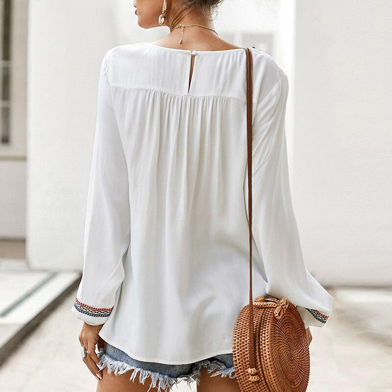 White Boho Tunic Top - S