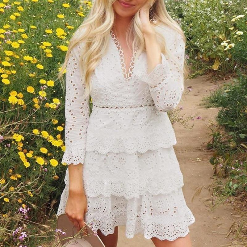 White Embroidered Boho Dress - S