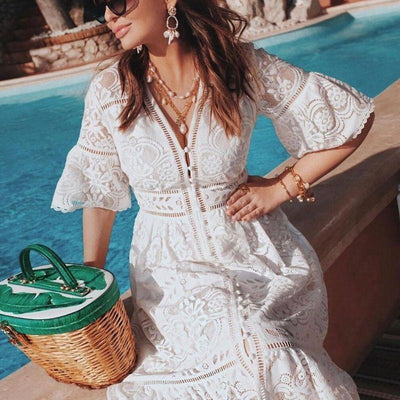 White Lace Boho Midi Dress
