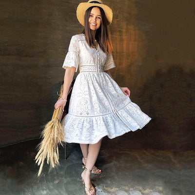 White Lace Boho Midi Dress - S