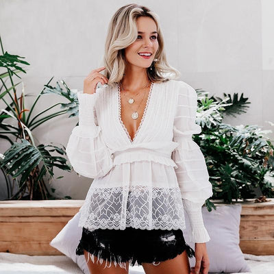 White Lace Boho Tunic - S