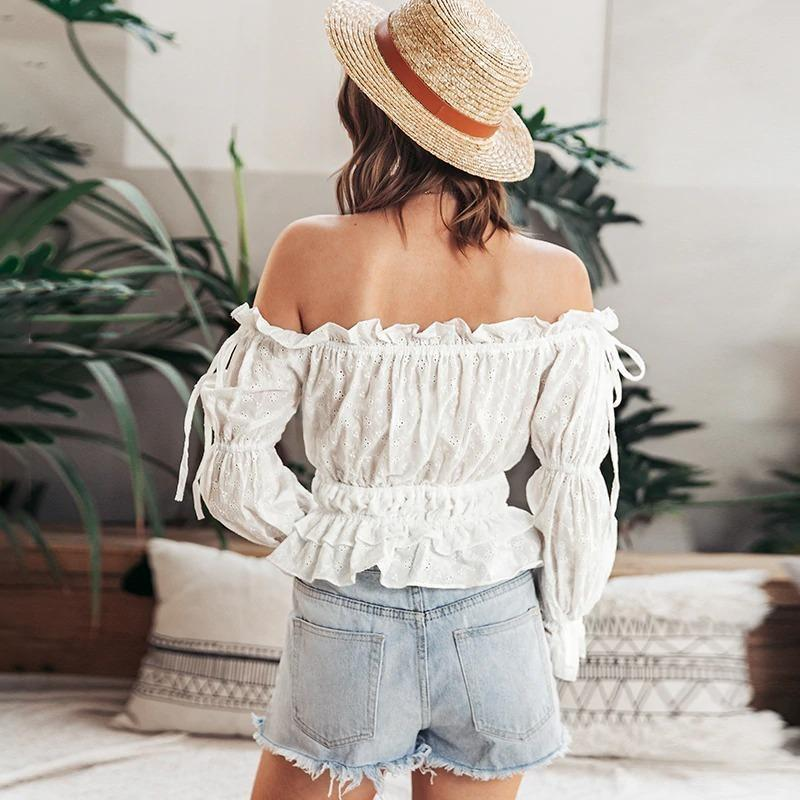 White Off Shoulder Boho Top - S