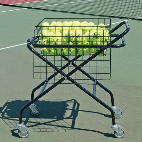 Foldable Coach's Tennis Ball Teaching Cart 250 Foldable w/ Lockable Lid