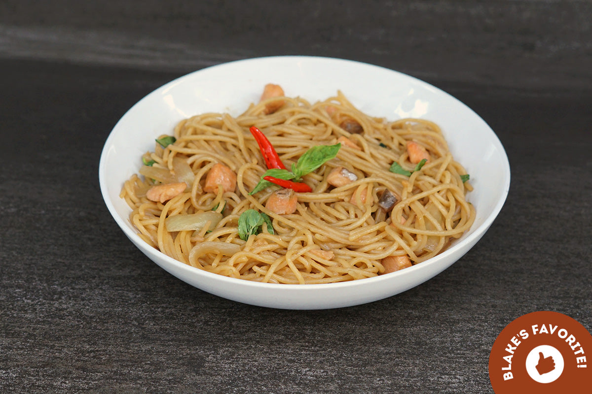 Spicy Salmon with Basil Pasta