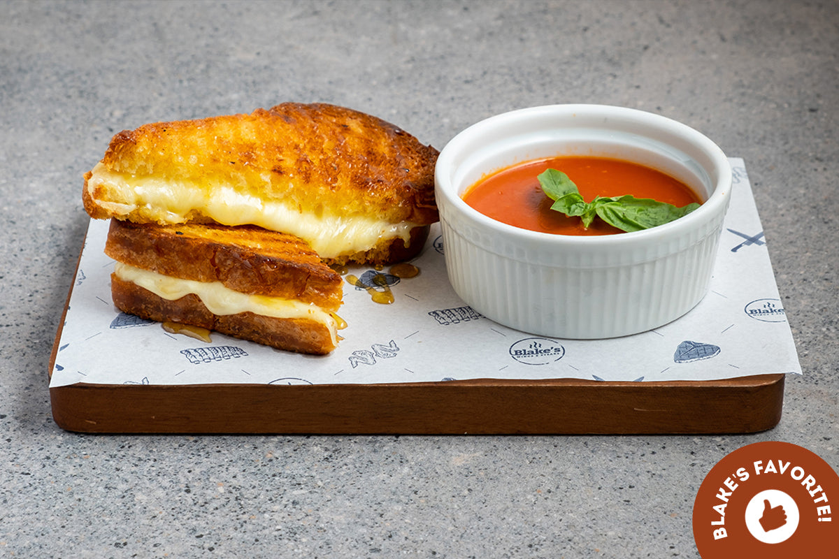 Truffle Honey Grilled Cheese with Tomato Soup