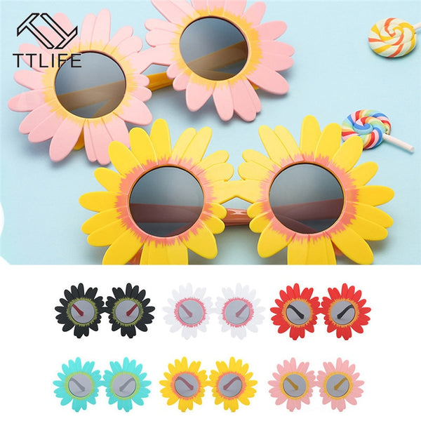 Vintage Kids Sunglasses Child Sun Glasses Round Flower Gafas Sunflower Sport Sunglasses