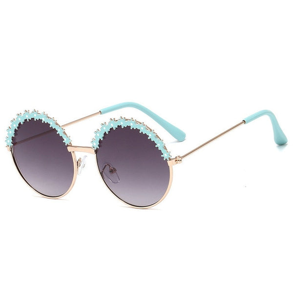 Round Princess Sunglasses Metal Flower Decoration Kawaii Child Sun Glasses Toddler Baby Children Eyewear Girls