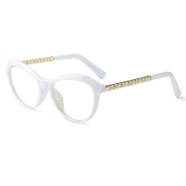 Cat Eye Square Glasses Frames Metal Leather Legs Optical Fashion Eyewear