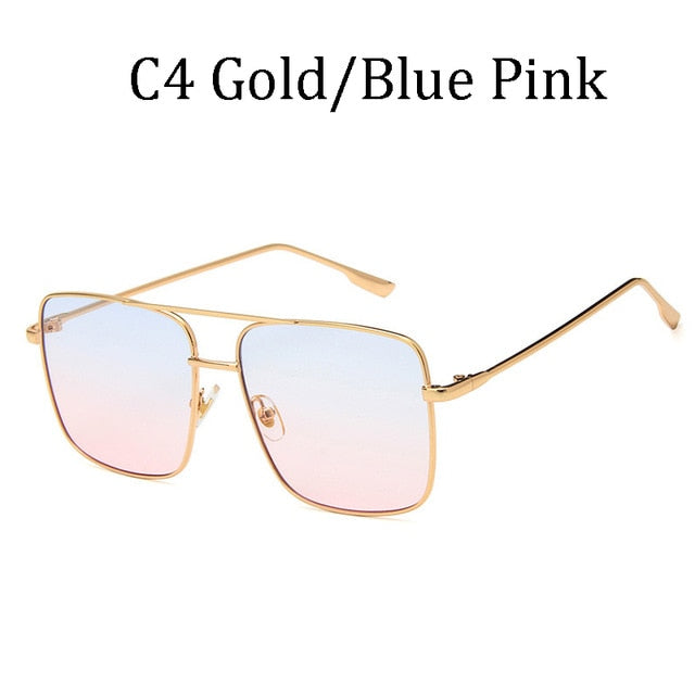 Gradient lens Square Aviation sunglasses pilot Unisex Large frame Classic glasses