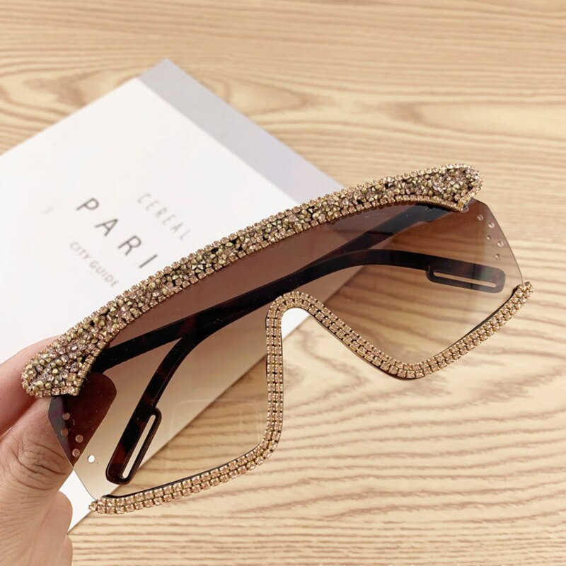 Oversized Sunglasses Women One Piece Sun Glasses Vintage Summer UV400 Rhinestone Sunglass
