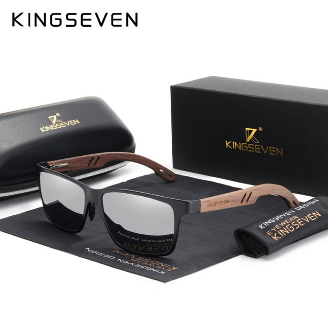 KINGSEVEN Aluminum+Handmade Walnut Wooden Sunglasses Men Polarized Eyewear Accessories Sun Glasses