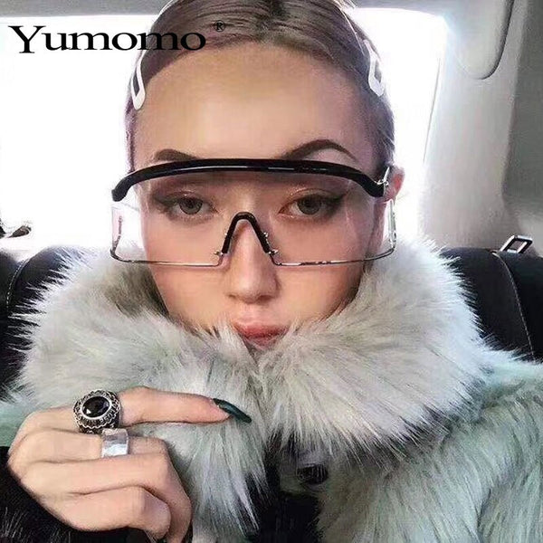 Winter Women's Rimless oversized sunglasses 2019 high quality brand Designer optical UV400 Fashion Eye protection Sun Glasses